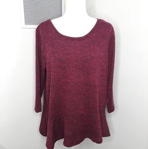 Lane Bryant burgandy peplum knit top size 14/16